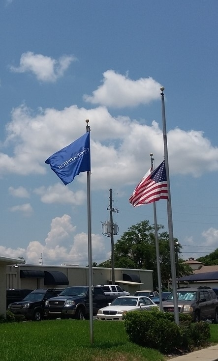 Our Flag at Half Mast in Memory of Those Lost in the Orlando Shooting