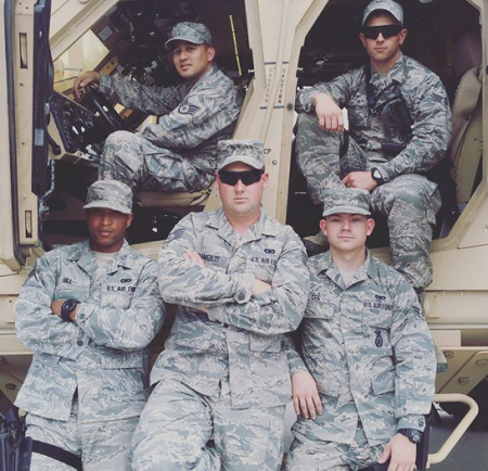 Josh Gee (front right) and members of the Air Force National Guard 125th fighter wing.